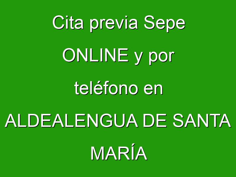 Cita previa Sepe ONLINE y por teléfono en ALDEALENGUA DE SANTA MARÍA