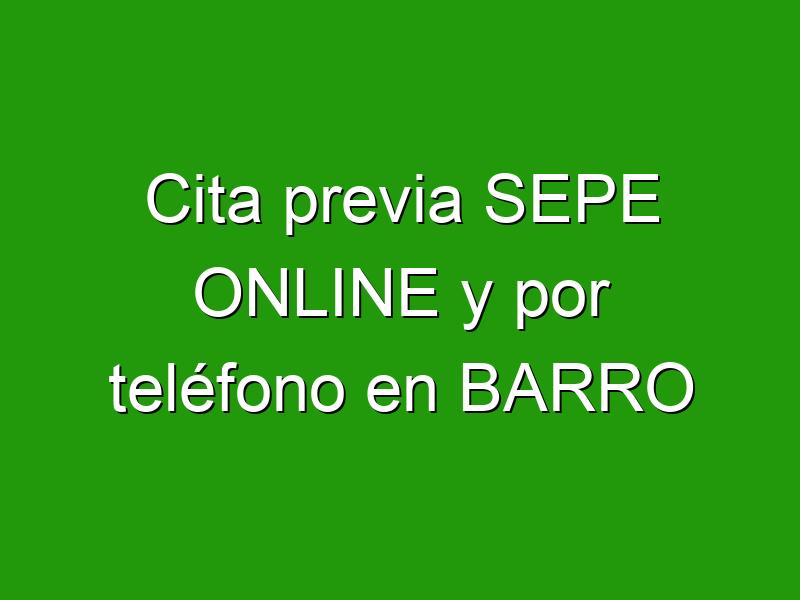 Cita previa SEPE ONLINE y por teléfono en BARRO