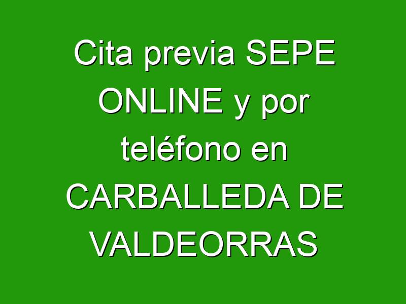 Cita previa SEPE ONLINE y por teléfono en CARBALLEDA DE VALDEORRAS