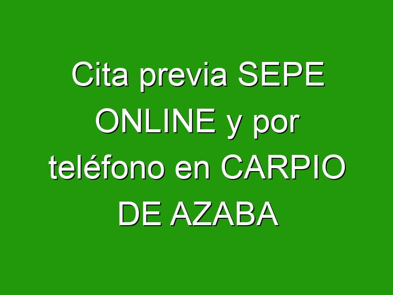 Cita previa SEPE ONLINE y por teléfono en CARPIO DE AZABA
