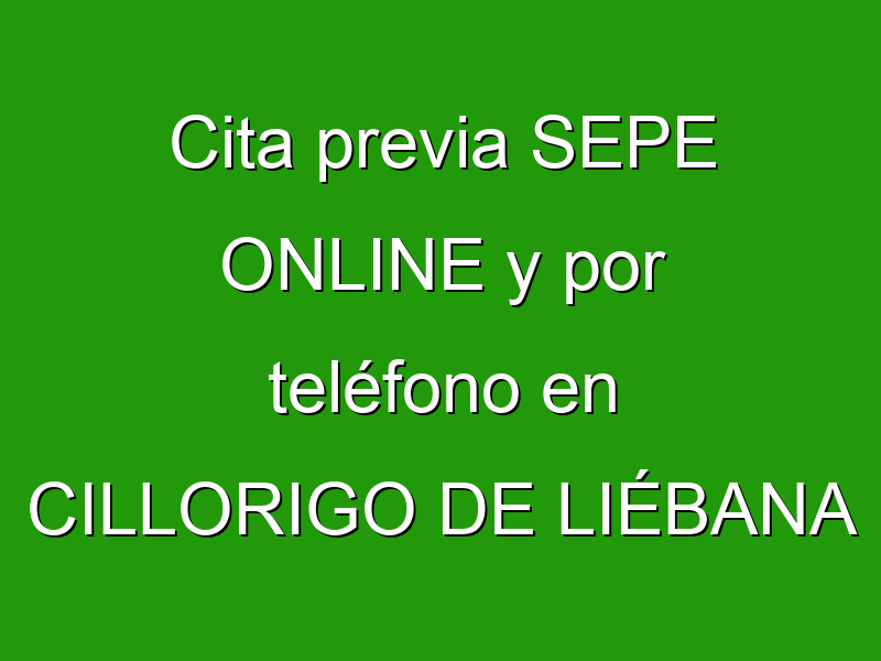 Cita previa SEPE ONLINE y por teléfono en CILLORIGO DE LIÉBANA
