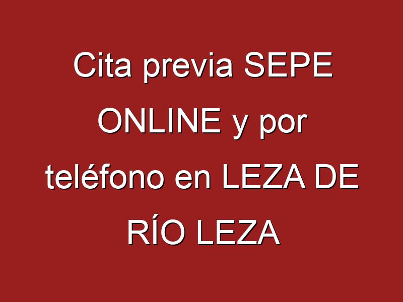 Cita previa SEPE ONLINE y por teléfono en LEZA DE RÍO LEZA