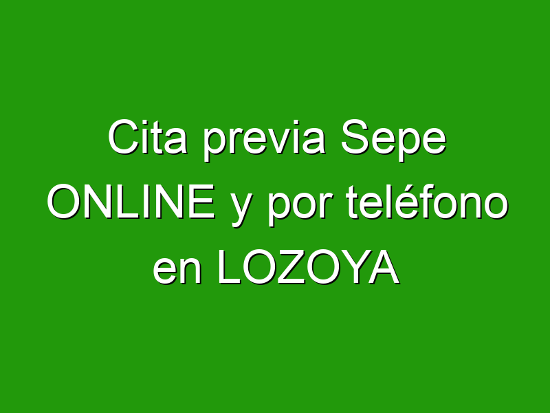 Cita previa Sepe ONLINE y por teléfono en LOZOYA