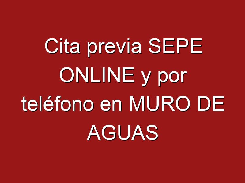 Cita previa SEPE ONLINE y por teléfono en MURO DE AGUAS
