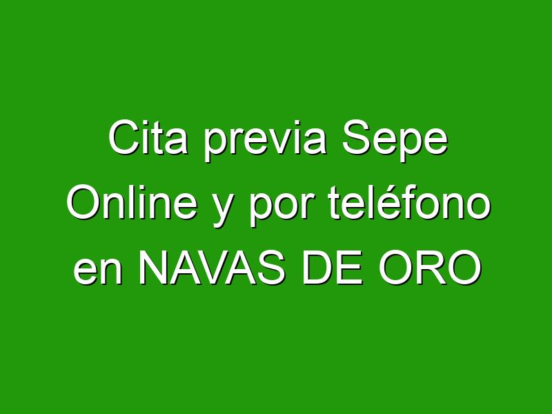 Cita previa Sepe Online y por teléfono en NAVAS DE ORO