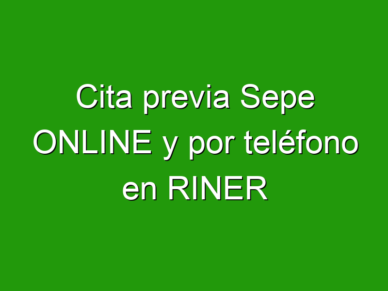 Cita previa Sepe ONLINE y por teléfono en RINER