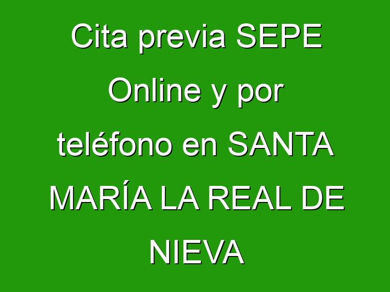 Cita previa SEPE Online y por teléfono en SANTA MARÍA LA REAL DE NIEVA