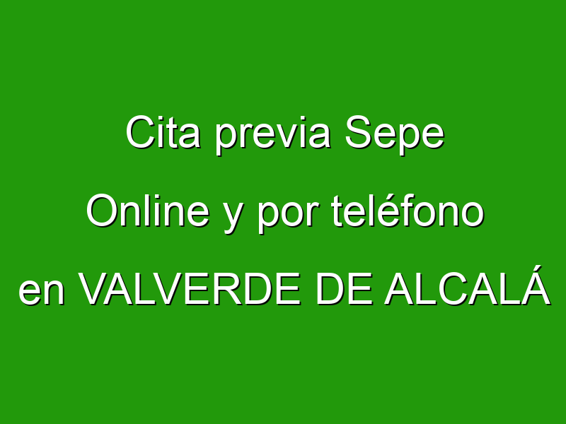 Cita previa Sepe Online y por teléfono en VALVERDE DE ALCALÁ