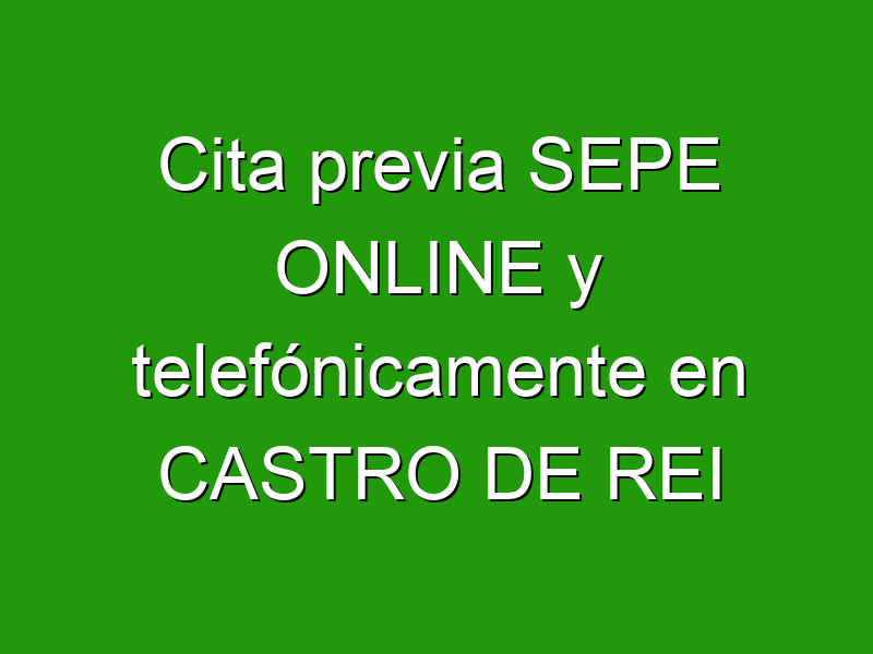 Cita previa SEPE ONLINE y telefónicamente en CASTRO DE REI