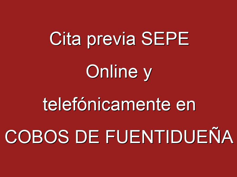 Cita previa SEPE Online y telefónicamente en COBOS DE FUENTIDUEÑA