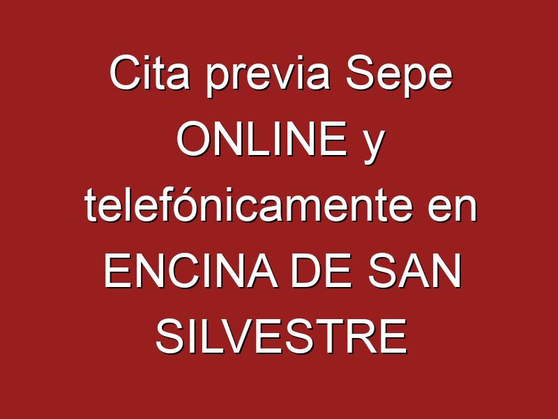 Cita previa Sepe ONLINE y telefónicamente en ENCINA DE SAN SILVESTRE