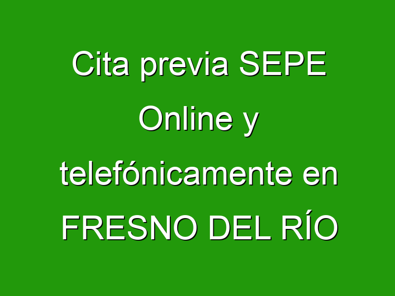 Cita previa SEPE Online y telefónicamente en FRESNO DEL RÍO