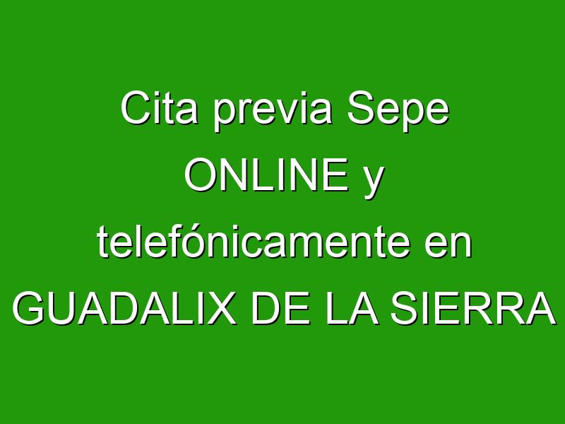 Cita previa Sepe ONLINE y telefónicamente en GUADALIX DE LA SIERRA