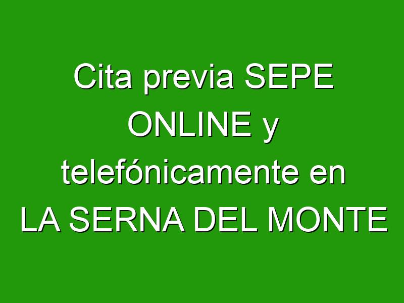 Cita previa SEPE ONLINE y telefónicamente en LA SERNA DEL MONTE