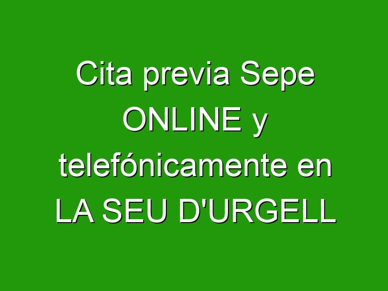 Cita previa Sepe ONLINE y telefónicamente en LA SEU D'URGELL