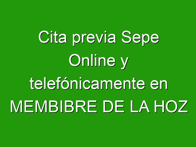 Cita previa Sepe Online y telefónicamente en MEMBIBRE DE LA HOZ