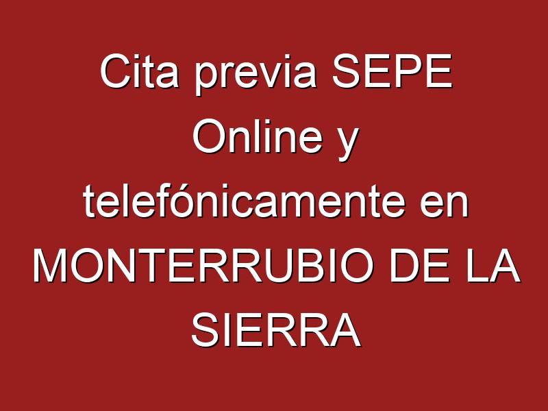 Cita previa SEPE Online y telefónicamente en MONTERRUBIO DE LA SIERRA