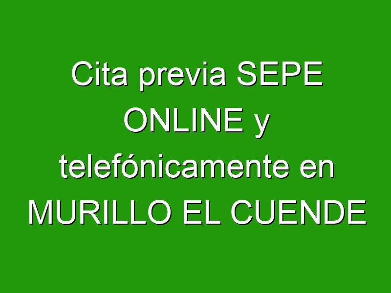 Cita previa SEPE ONLINE y telefónicamente en MURILLO EL CUENDE