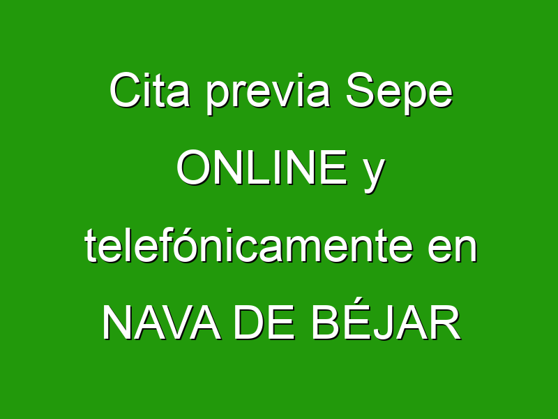 Cita previa Sepe ONLINE y telefónicamente en NAVA DE BÉJAR