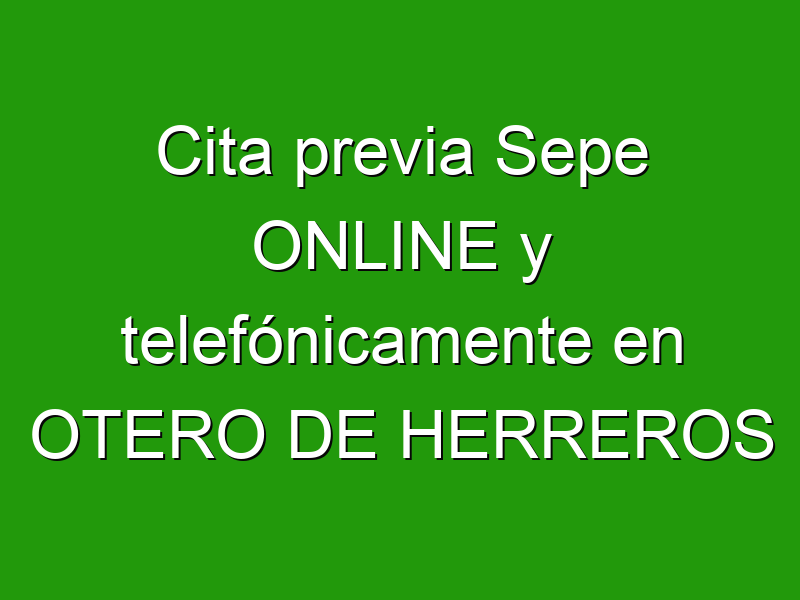 Cita previa Sepe ONLINE y telefónicamente en OTERO DE HERREROS