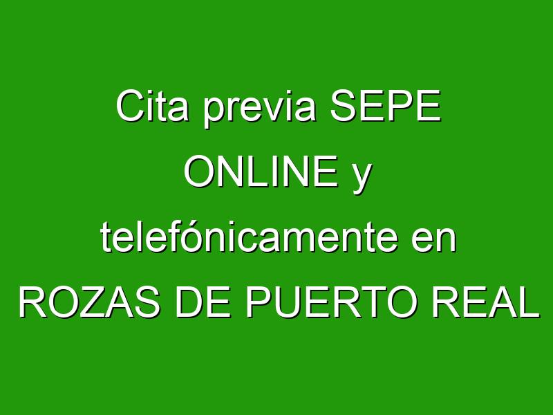 Cita previa SEPE ONLINE y telefónicamente en ROZAS DE PUERTO REAL