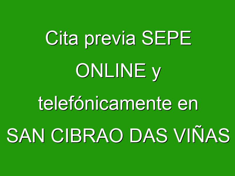 Cita previa SEPE ONLINE y telefónicamente en SAN CIBRAO DAS VIÑAS