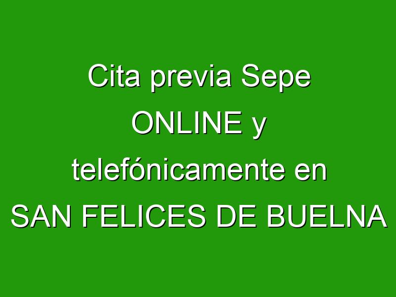 Cita previa Sepe ONLINE y telefónicamente en SAN FELICES DE BUELNA
