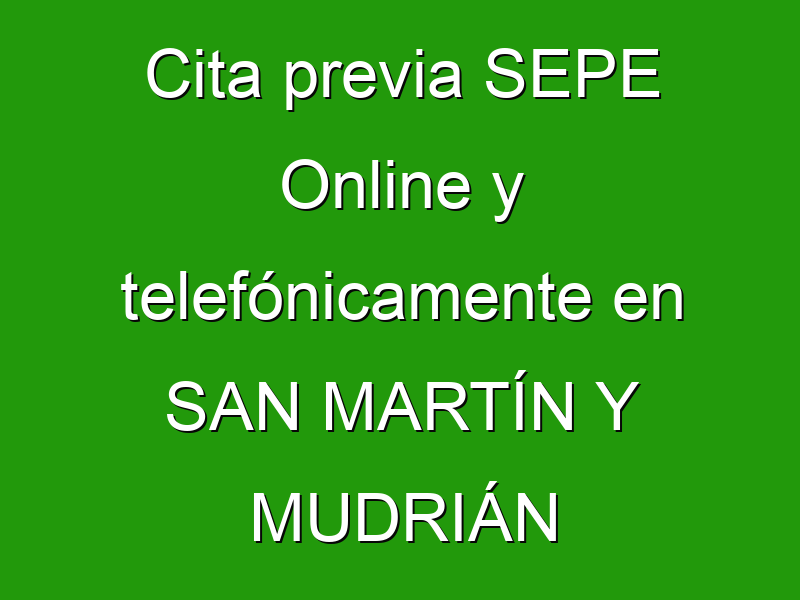 Cita previa SEPE Online y telefónicamente en SAN MARTÍN Y MUDRIÁN