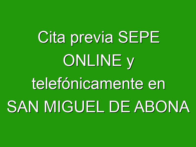 Cita previa SEPE ONLINE y telefónicamente en SAN MIGUEL DE ABONA