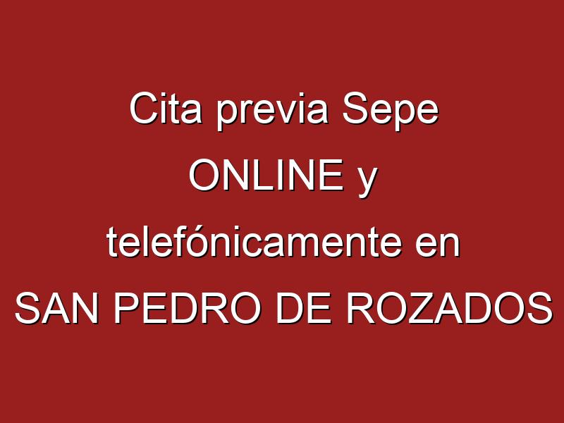 Cita previa Sepe ONLINE y telefónicamente en SAN PEDRO DE ROZADOS