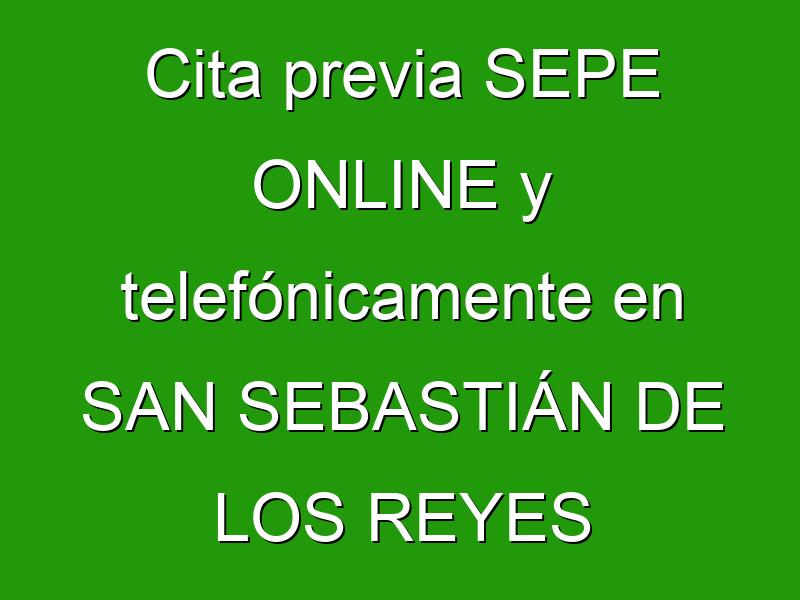 Cita previa SEPE ONLINE y telefónicamente en SAN SEBASTIÁN DE LOS REYES