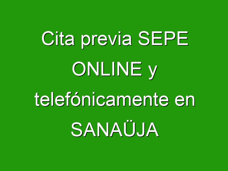 Cita previa SEPE ONLINE y telefónicamente en SANAÜJA