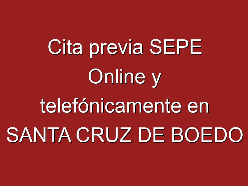 Cita previa SEPE Online y telefónicamente en SANTA CRUZ DE BOEDO