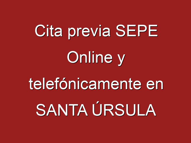Cita previa SEPE Online y telefónicamente en SANTA ÚRSULA