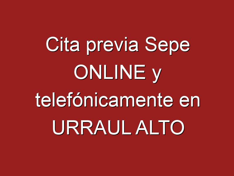 Cita previa Sepe ONLINE y telefónicamente en URRAUL ALTO