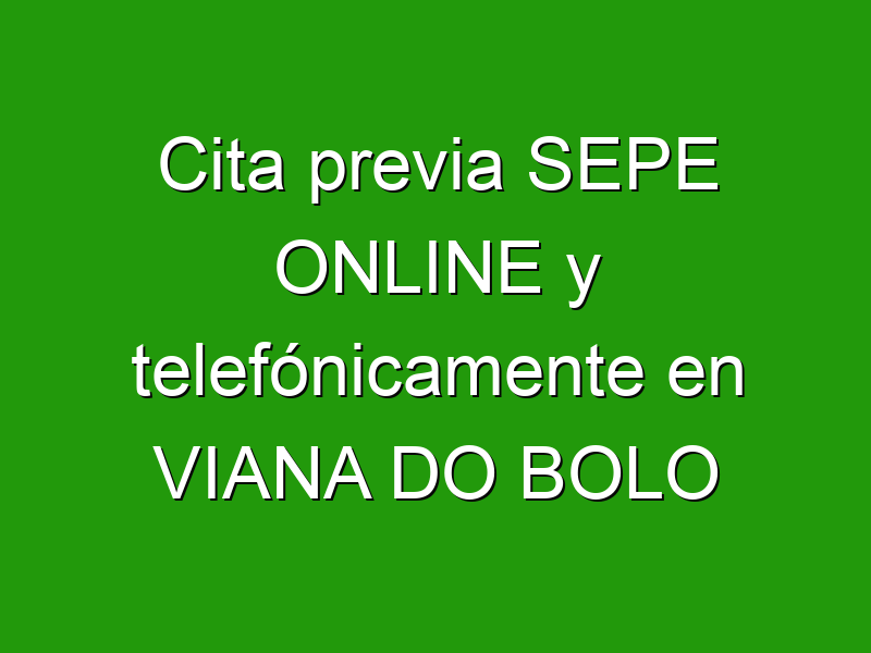 Cita previa SEPE ONLINE y telefónicamente en VIANA DO BOLO