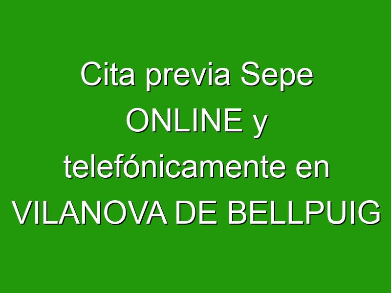 Cita previa Sepe ONLINE y telefónicamente en VILANOVA DE BELLPUIG