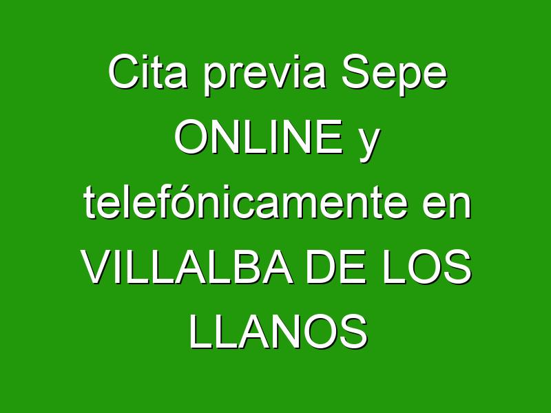 Cita previa Sepe ONLINE y telefónicamente en VILLALBA DE LOS LLANOS
