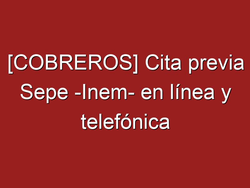 [COBREROS] Cita previa Sepe -Inem- en línea y telefónica