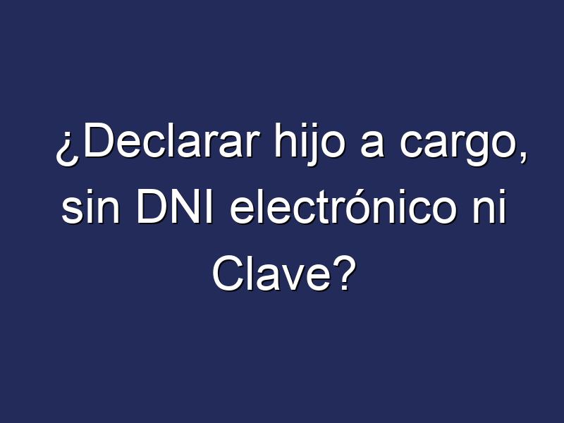 ¿Declarar hijo a cargo, sin DNI electrónico ni Clave?