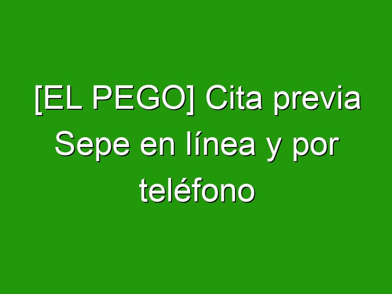 [EL PEGO] Cita previa Sepe en línea y por teléfono