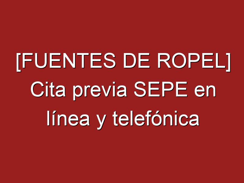 [FUENTES DE ROPEL] Cita previa SEPE en línea y telefónica