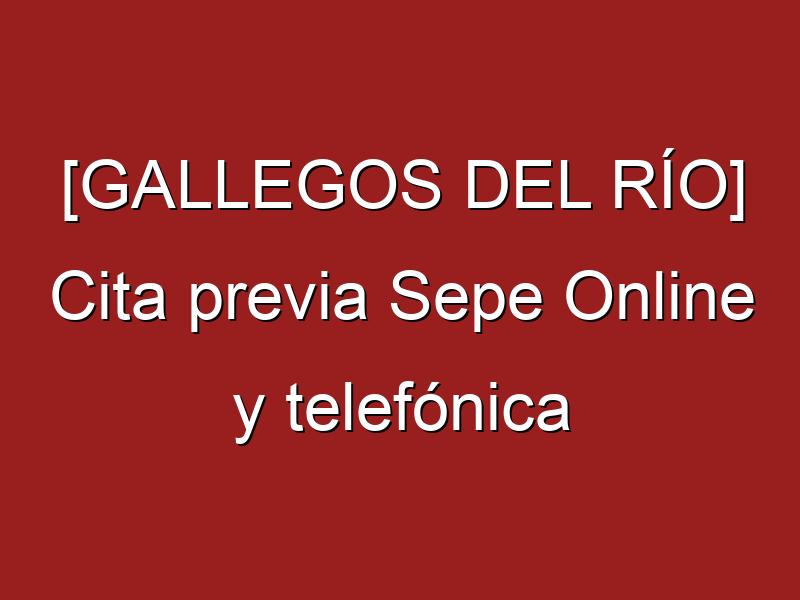 [GALLEGOS DEL RÍO] Cita previa Sepe Online y telefónica