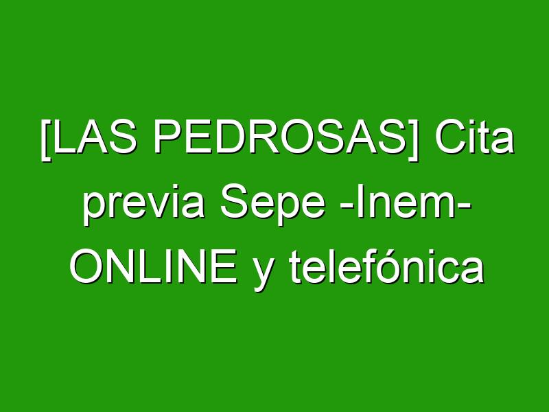 [LAS PEDROSAS] Cita previa Sepe -Inem- ONLINE y telefónica