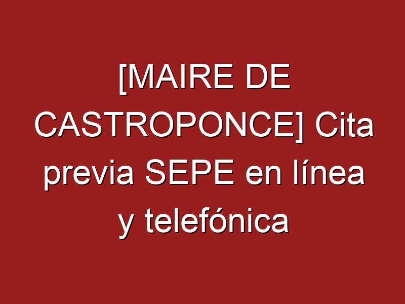 [MAIRE DE CASTROPONCE] Cita previa SEPE en línea y telefónica