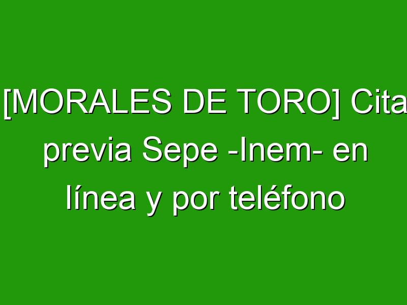 [MORALES DE TORO] Cita previa Sepe -Inem- en línea y por teléfono