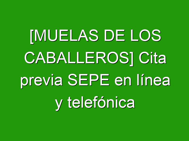 [MUELAS DE LOS CABALLEROS] Cita previa SEPE en línea y telefónica