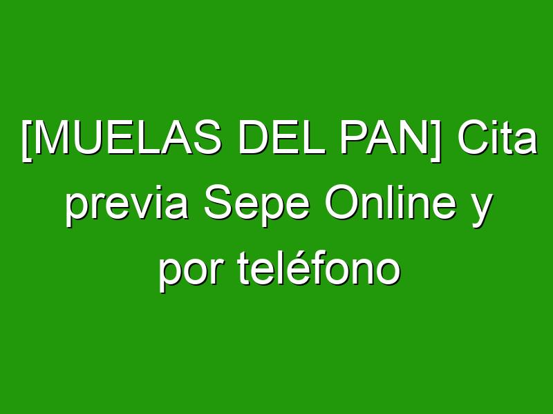 [MUELAS DEL PAN] Cita previa Sepe Online y por teléfono