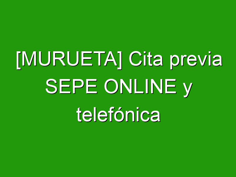 [MURUETA] Cita previa SEPE ONLINE y telefónica
