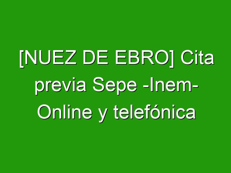 [NUEZ DE EBRO] Cita previa Sepe -Inem- Online y telefónica